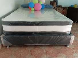 Colchon ortopedico pilow top y base cama y dos almohadas