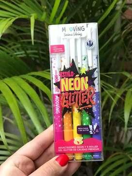 Resaltadores neon y 5 roller gel glitter de calidad PREMIUM!!