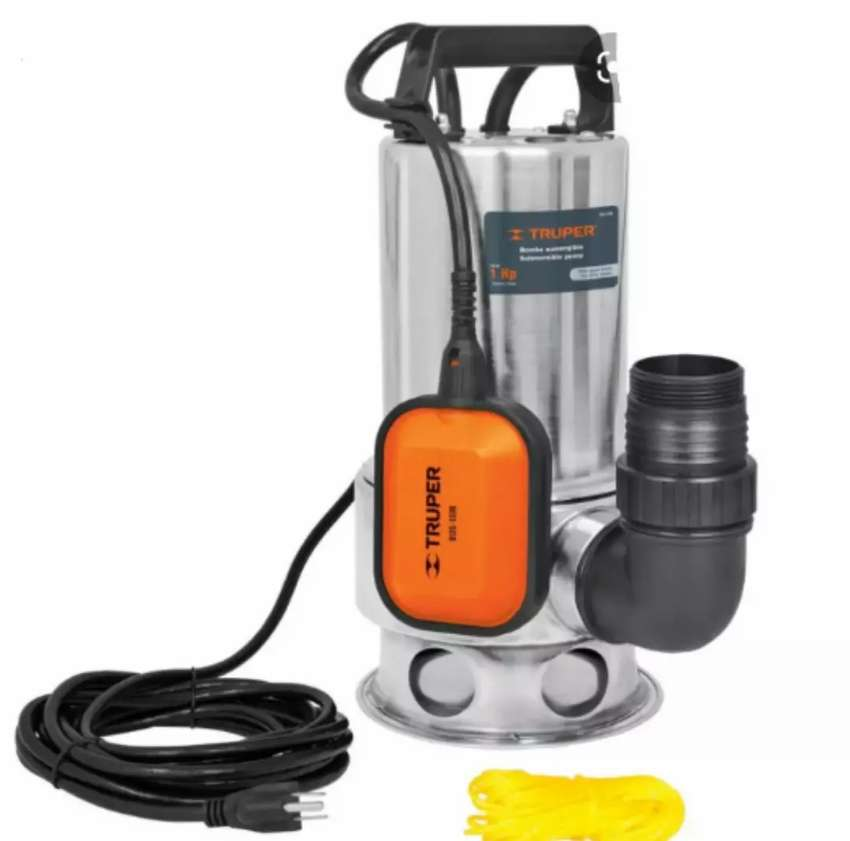 Bomba sumergible para agua sucia  de 1hp en acero inoxidable Truper 0
