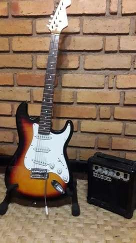Guitarra eléctrica Strato y Amplificador 15w