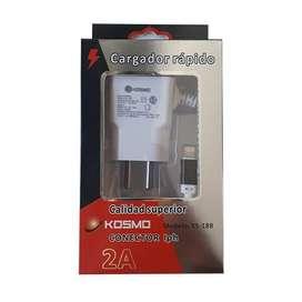 Cargador celular lightning Iphone 2A + usb extra Kosmo Electrónica CEA