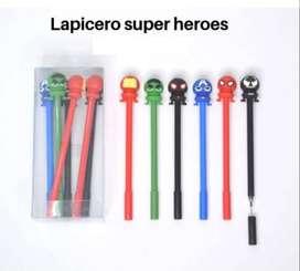 Lapiceros Super Heroes Tinta Gel X 6