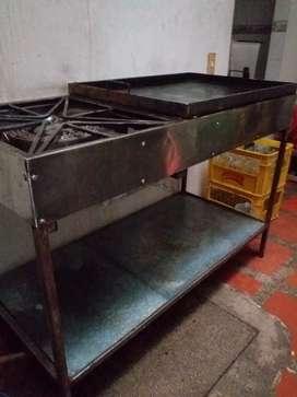 Plancha de 80*60 doble fogon industrial