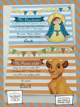 Nacimiento Invitacion Rey Leon Simba Cumple Infantil Evento Souvenir Virgen Tarjetas Bautismo Personalizada