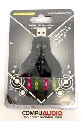 Tarjeta de sonido USB Doble salida, Doble entrada