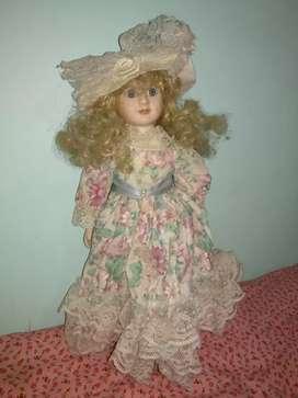 Muñeca Porcelana Antigua de Colección