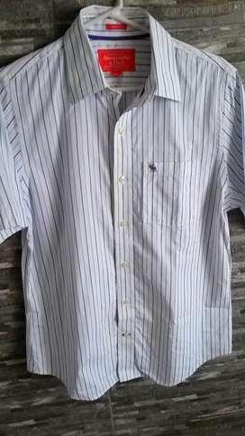 Camisa Abercrombie Blanca a Rayas Azules Nueva Original Talla L