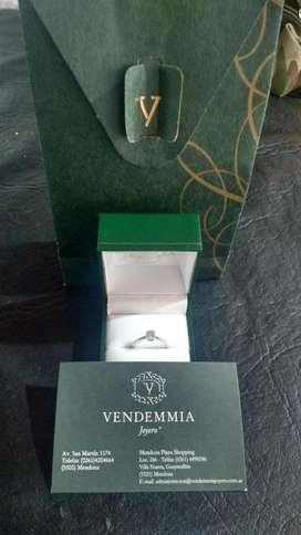 Anillo Solitario Oro Blanco 18k Diamante Brillante 0.16ct