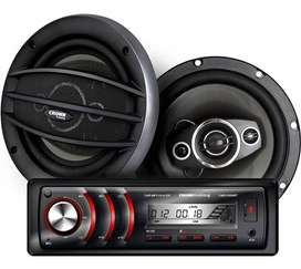"Combo Estereo Crown Mustang Dmk8000bt + Parlantes  6"" - NUEVO"