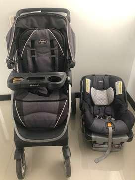 Coche Travel System Bravo y silla para bebe Chicco, precio mercado 2.200.000 (2 productos)