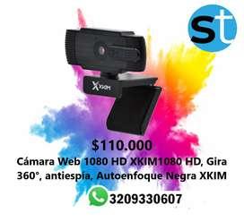 CAMARA WEB 1080 HD XKIM1080 HD GIRA 360 ANTISPIA AUTOENFOQUE NEGRA XKIM