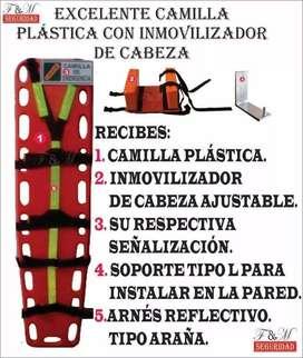 camilla plastica y elementos de seguridad