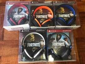 Auriculares Gamer Fornite con Micrófono Ps4 Color Azul-negro/ Negro- Gris claro