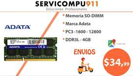 Memoria Ddr3 4gb 1600 Mhz Pc3- 12800 Sodimm Laptop Adata