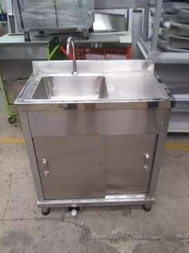 Lavaplatos con pedal de 80 * 50 en acero inox 304