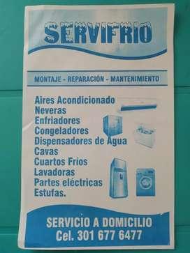 Reparaciones técnicas a domicilio en neveras lavadoras Aires acondicionado estufas congeladores cuartos frío