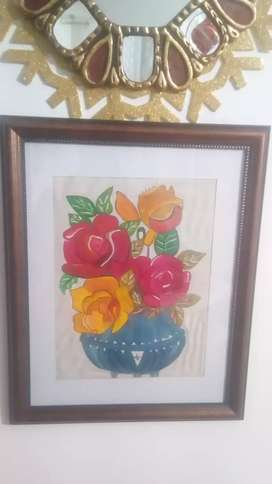 Colorido y cálido cuadro pintado a Mano