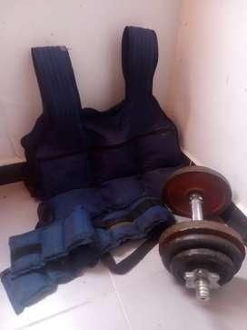 Kit de mancuernas 15 kg y chaleco de peso de 25 kg
