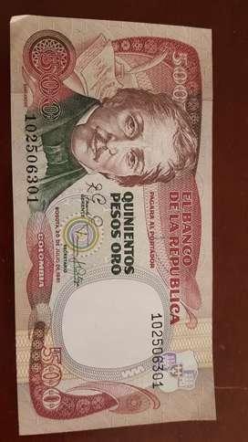 QUINIENTOS PESOS ORO DE COLOMBIA DE 1981