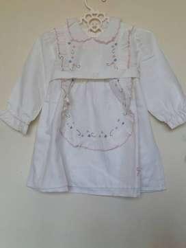 Vestido beba blanco algodon manga larga
