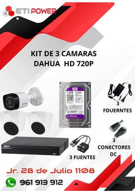 Kit de 3 camaras HD 720p Dahua