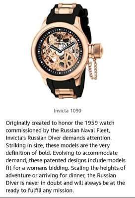 Invicta 1090 mens Russian diver rose gold tone skeleton