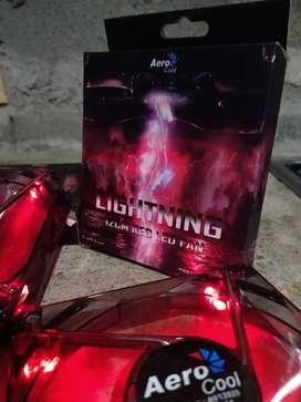 2 Ventiladores Fan cooler AeroCool Rojos de 12cm