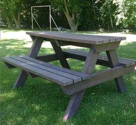 mesa de picnic madera plastica