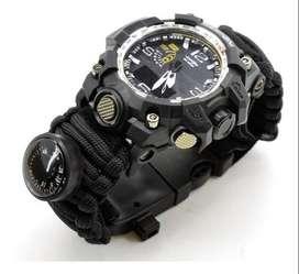 Reloj Supervivencia Paracord Doble Hora Acuatico 50 M