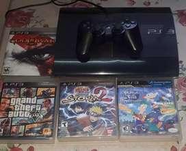 PlayStation 3 + joystick + 5 juegos