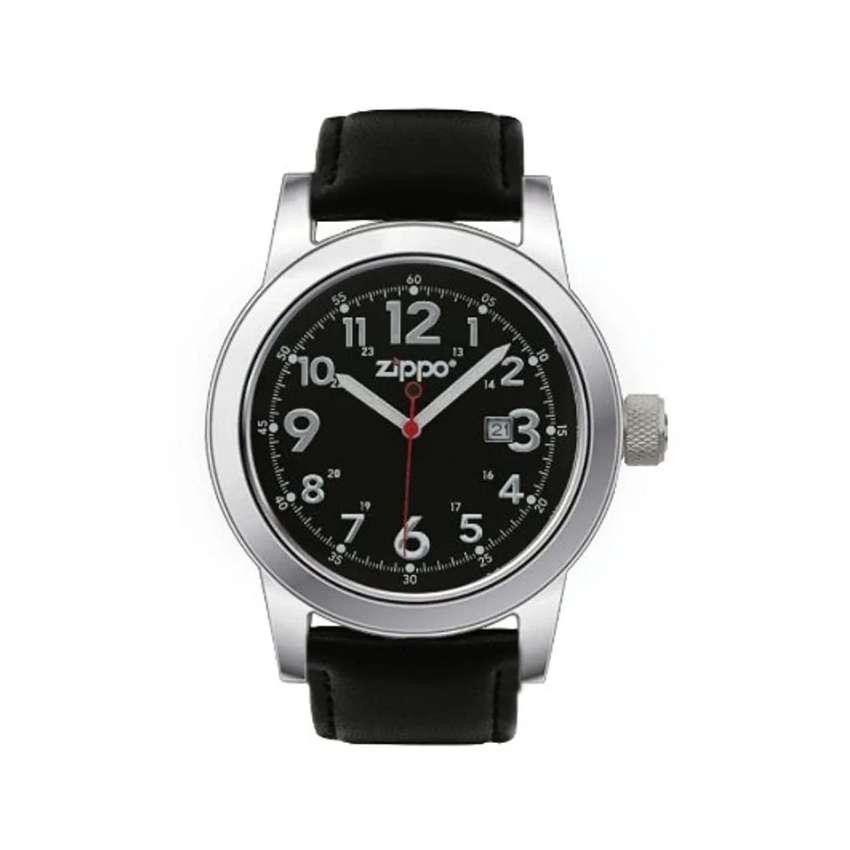 Reloj Correa de Piel, Negro. Zippo. Original. Entrega Banimported