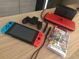 Nintendo Switch Nuevo + Dos Juegos Originales Nuevos + Estuche de Viaje