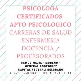 APTO PSICOLOGICO CERTIFICADO en Capital Federal Belgrano
