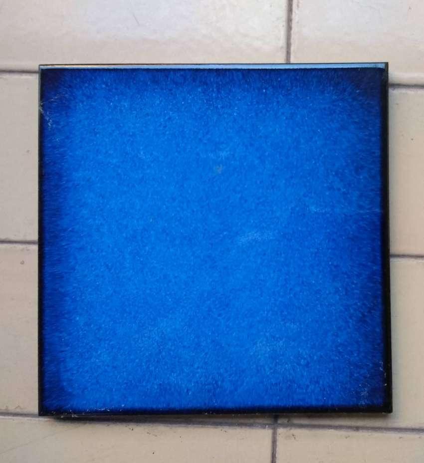 Baldosas Made in Italy . Azul marino + Borde negro . Brillante . Importadas Lote x 9 uni. 0
