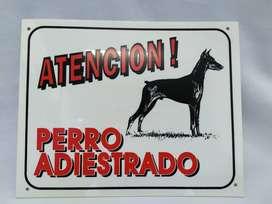 cartel stop perro adiestrado 25cm x 20cm x 2m