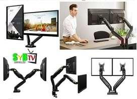 Soporte doble monitor flexigas de escritorio 2 monitores y también se vende extencion a portatil