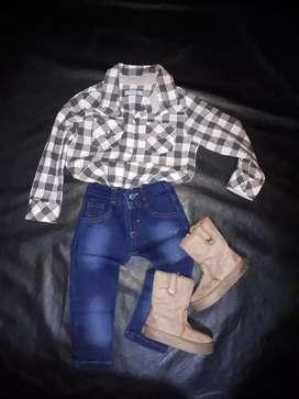 Camisa jean botas