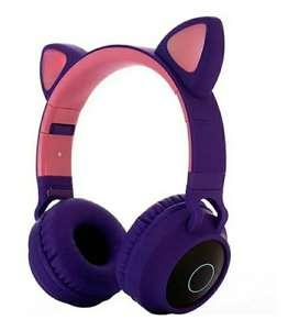 Audifonos diadema bluetooth orejas de gato y luces