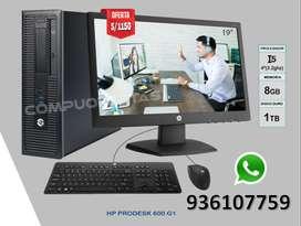 "COMPUTADORA COMPLETA HP Intel Core i5 + RAM 8GB + DDURO 1TB + T.VIDEO HD INTEL + MONITOR HP 19"" + REGALO MOUSE Y TECLADO"