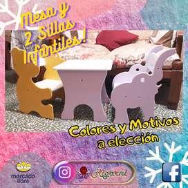 Juego De Mesa Y 2 Sillas Infantiles De Madera Mdf