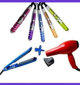 Combo plancha digital + secador + rizador cuidado del cabello