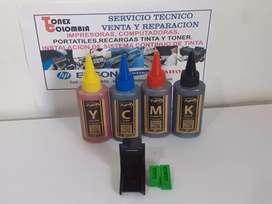 KIT DE TINTA 4 COLORES HP CANON GENERICAS CERTIFICADAS Y SELLADAS