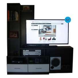 Modular Rack Tv/led 50 Cajón Manija Metálicas Melamina 18mm