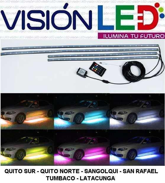 CINTA AUDIORITMICA SISTEMA LUZ LED RGB DEBAJO DEL AUTO 4 PCS. 0