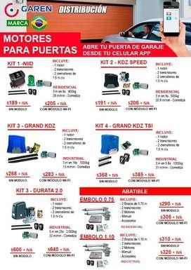 Kit Motores de Garaje Corredizo , Abatible + Instalación, Incluye Modulo Wifi , apertura de portón con Teléfono Celular