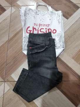 Jeans con volados para beba Grisino