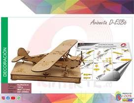 Rompezabezas 3d Avioneta Caja+piezas+manual Mdf 2,5mm