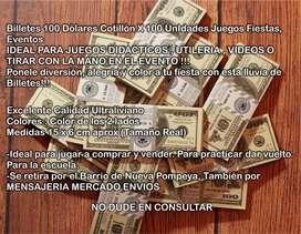 Billetes Cotillón Utileria Dolares Pack X 100 Unid.sin Valor  450