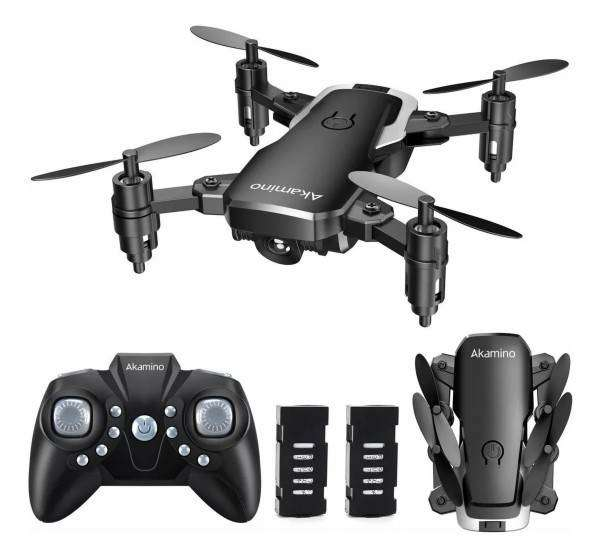 Drone AKAMINO mini,plegable bolsillo 4 hélices con modo sin cabeza, GIROS DE HELICÓPTERO tecla RETORNO para principiants 0