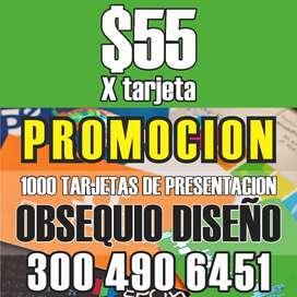 1.000 Tarjetas De Presentación + regalo diseño / ambos lados / Full Color Promoción $55 (X TARJETA) Regalo diseño
